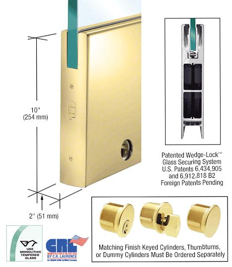 "CRL Polished Brass 1/2"" Glass 10"" Square Door Rail With Lock - 35-3/4"" Length CRL DR10SPB12SL"