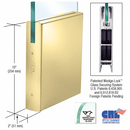 """CRL Polished Brass 1/2"""" Glass 10"""" Square Door Rail Without Lock - 35-3/4"""" Length CRL DR10SPB12S"""