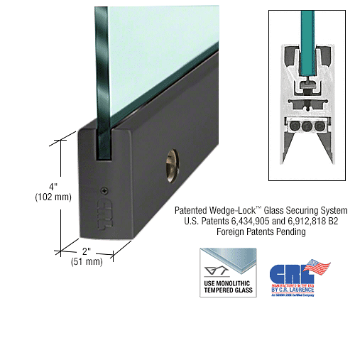 "CRL Black Powder Coated 3/8"" Glass 4"" Square Door Rail Euro Lock- Custom Length CRL DR4SBL38CE"