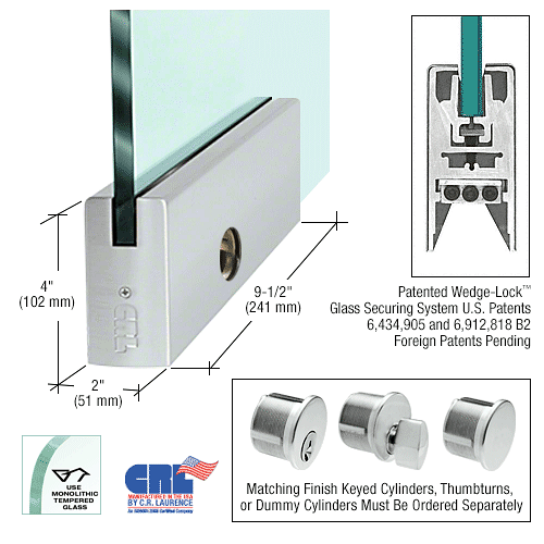 """CRL Brushed Stainless 1/2"""" Glass 4"""" Square Door Rail With Lock - 9-1/2"""" Patch CRL DR4SBS12PL"""