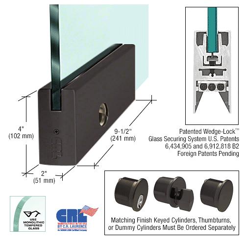 "CRL Black Bronze 1/2"" Glass 4"" Square Door Rail With Lock - 9-1/2"" Patch CRL DR4SDU12PL"