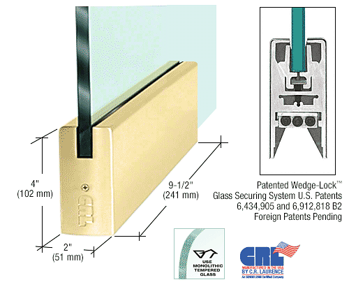 """CRL Polished Brass 1/2"""" Glass 4"""" Square Door Rail Without Lock - 9-1/2"""" Patch CRL DR4SPB12P"""
