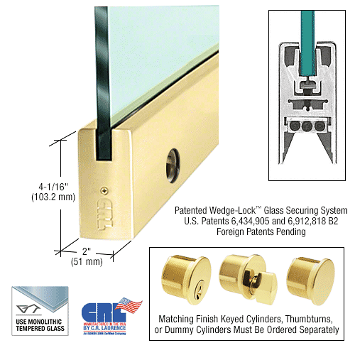 "CRL Polished Brass 1/2"" Glass 4"" Square Door Rail With Lock - 35-3/4"" Length CRL DR4SPB12SL"