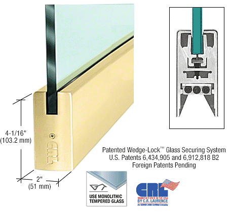 "CRL Polished Brass 1/2"" Glass 4"" Square Door Rail Without Lock - 35-3/4"" Length CRL DR4SPB12S"