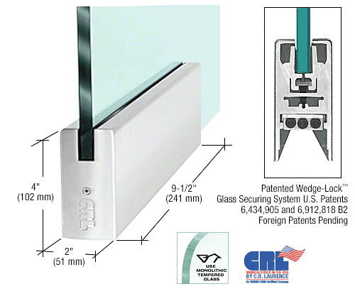 """CRL Polished Stainless 1/2"""" Glass 4"""" Square Door Rail Without Lock - 9-1/2"""" Patch CRL DR4SPS12P"""