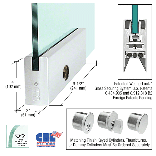 """CRL Satin Anodized 1/2"""" Glass 4"""" Square Door Rail With Lock - 9-1/2"""" Patch CRL DR4SSA12PL"""