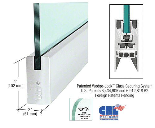 "CRL Satin Anodized 1/2"" Glass 4"" Square Door Rail Without Lock - 35-3/4"" Length CRL DR4SSA12S"