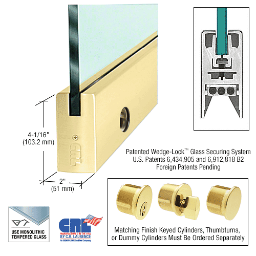 "CRL Satin Brass 3/8"" Glass 4"" Square Door Rail With Lock - Custom Length CRL DR4SSB38CL"