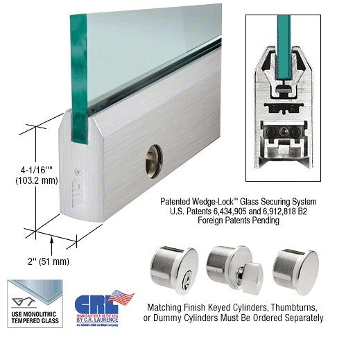 "CRL Brushed Stainless 1/2"" Glass 4"" Tapered Door Rail With Lock - 35-3/4"" Length CRL DR4TBS12SL"