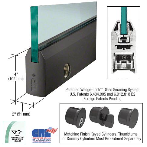 "CRL Black Bronze 1/2"" Glass 4"" Tapered Door Rail With Lock - 35-3/4"" Length CRL DR4TDU12SL"