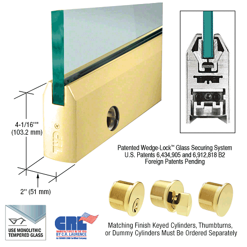 "CRL Polished Brass 1/2"" Glass 4"" Tapered Door Rail With Lock - 35-3/4"" Length CRL DR4TPB12SL"