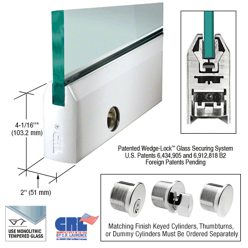 """CRL Polished Stainless 1/2"""" Glass 4"""" Tapered Door Rail With Lock - 35-3/4"""" Length CRL DR4TPS12SL"""