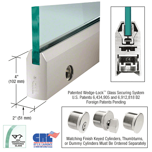 "CRL Satin Anodized 1/2"" Glass 4"" Tapered Door Rail With Lock - 35-3/4"" Length CRL DR4TSA12SL"