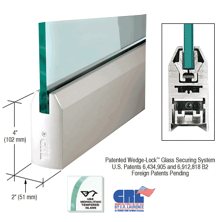 "CRL Satin Anodized 1/2"" Glass 4"" Tapered Door Rail Without Lock - 35-3/4"" Length CRL DR4TSA12S"
