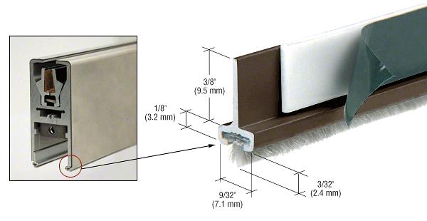CRL Black Bronze Anodized Pile Weatherstrip for Single Door Rail - Set of 2 CRL DRWDUS
