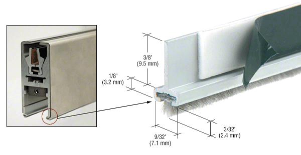 CRL Satin Anodized Pile Weatherstrip for Single Door Rail - Set of 2 CRL DRWSAS