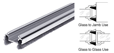 Female Brite Aluminum Edge Weatherstrip w/ Pile 96 inch - CRL DW12FBA