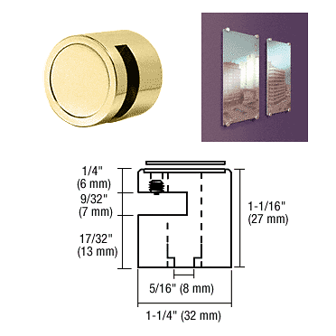 "CRL Brass Edge Grip for 1/4"" Material CRL EG14BR"