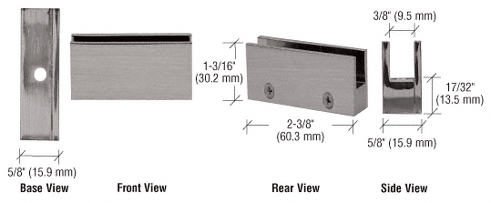 """CRL Brushed Nickel Face Plate Clamp for 1/4"""" to 5/16"""" Glass CRL EH09"""