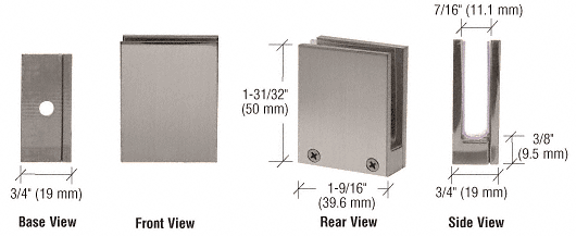 """CRL Brushed Nickel Face Plate Clamp for 1/4"""" to 3/8"""" Glass CRL EH13"""