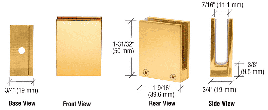 "CRL Brass Face Plate Clamp for 1/4"" to 3/8"" Glass CRL EH14"