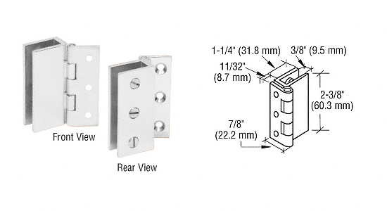 CRL Chrome Large Wall Mount Set Screw Hinge CRL EH168