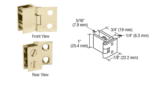 "CRL Brass 1"" Wall Mount Set Screw Hinge CRL EH174"