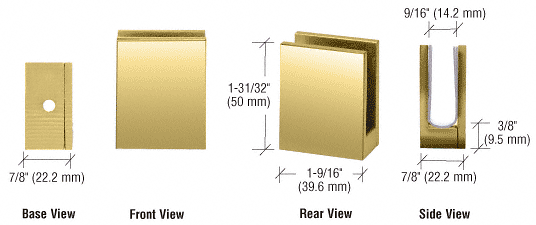 "CRL Brass Face Plate Clamp for 3/8"" to 1/2"" Glass CRL EH17"