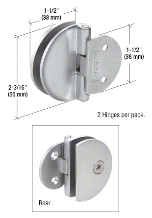 CRL Polished Chrome Half Round Light Duty Frameless Shower Door Hinge CRL EH184