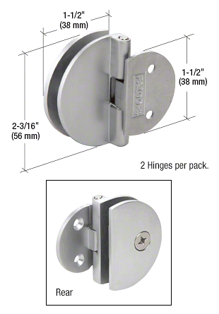 CRL Satin Chrome Half Round Light Duty Frameless Shower Door Hinge CRL EH185