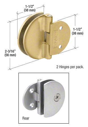CRL Polished Brass Half Round Light Duty Frameless Shower Door Hinge CRL EH186