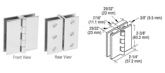CRL Chrome Large Glass-to-Glass Out-Swing Set Screw Hinge CRL EH192
