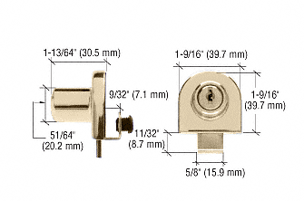 CRL Brass Single Glass Door Lock - Randomly Keyed CRL EH210
