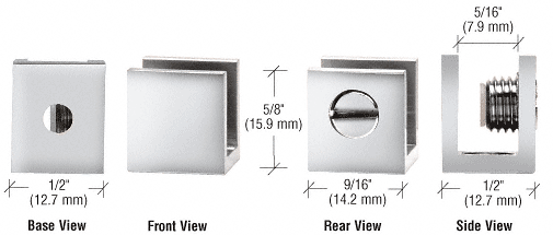 """CRL Chrome Set Screw Clamp for 3/16"""" to 1/4"""" Glass - 10/Pk CRL EH22"""