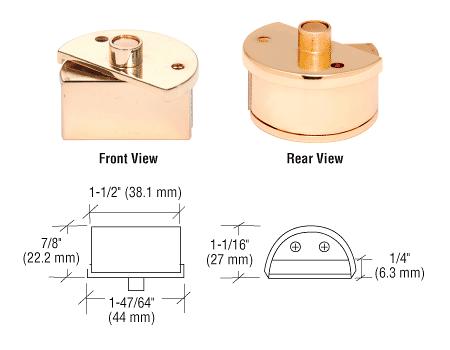 """CRL Brass Showcase Pivot Hinges for 3/16"""" Glass CRL EH234"""