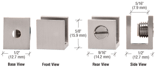 """CRL Brushed Nickel Set Screw Clamp for 3/16"""" to 1/4"""" Glass - 10/Pk CRL EH23"""