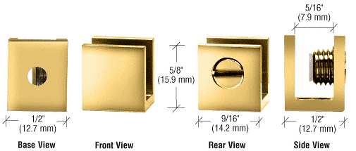 """CRL Brass Set Screw Clamp for 3/16"""" to 1/4"""" Glass - 10/Pk CRL EH24"""