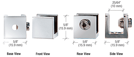 """CRL Chrome Small Set Screw Clamp for 1/4"""" to 5/16"""" Glass - 10/Pk CRL EH26"""