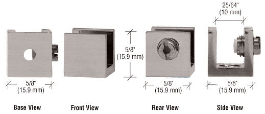 """CRL Brushed Nickel Small Set Screw Clamp for 1/4"""" to 5/16"""" Glass - 10/Pk CRL EH27"""