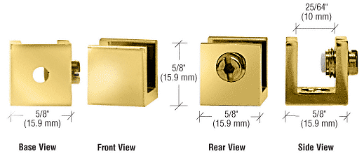 """CRL Brass Small Set Screw Clamp for 1/4"""" to 5/16"""" Glass - 10/Pk CRL EH28"""