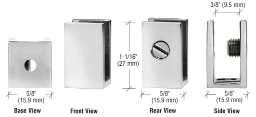 """CRL Chrome Set Screw Clamp for 1/4"""" to 5/16"""" Glass CRL EH30"""