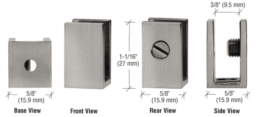 """CRL Brushed Nickel Set Screw Clamp for 1/4"""" to 5/16"""" Glass CRL EH31"""