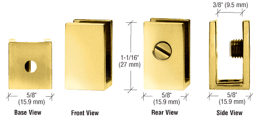 """CRL Brass Set Screw Clamp for 1/4"""" to 5/16"""" Glass CRL EH32"""