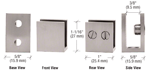 "CRL Brushed Nickel Double Set Screw Clamp for 1/4"" to 5/16"" Glass CRL EH35"