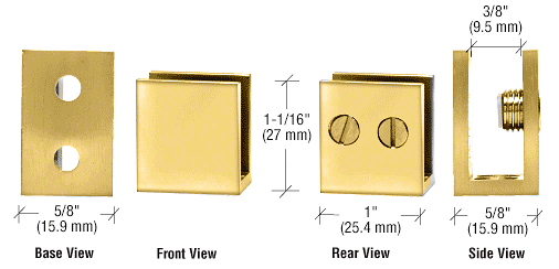 "CRL Brass Double Set Screw Clamp for 1/4"" to 5/16"" Glass CRL EH36"