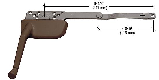 "CRL Bronze 9-1/2"" Right Hand Single Arm Ellipse Surface Mount Dyad Casement Operator CRL EP24175"