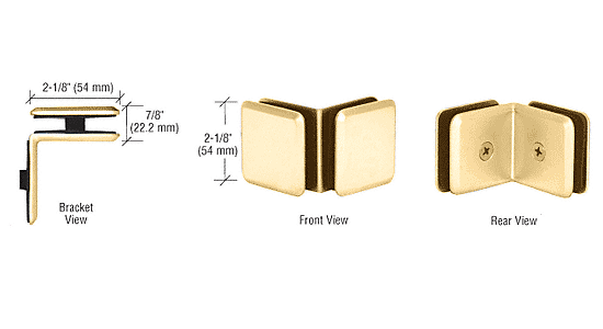 CRL Gold Plated Estate Series 90 Degree Glass-to-Glass Clamp CRL EST111GP