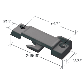 """CRL Black Sliding Window Lock with 2-1/4"""" Screw Holes for Guaranteed Products Windows CRL F2512"""