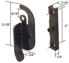 Left Hand Sliding Window Latch; 2 inch Screw Holes for Likit Windows - CRL F2513