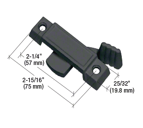 """CRL Black Sliding Window Lock with 2-1/4"""" Screw Holes and 3/8"""" Latch Projection CRL F2589"""